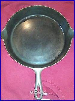-12 Erie Pre Griswold Cast Iron Skillet Vtg USA Erie Pa 1890-1905