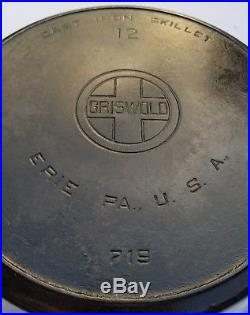 # 12 GRISWOLD Cast Iron Skillet Heat Ring Large Block Logo pan SEASONED BEAUTY