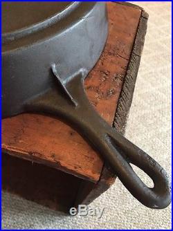 #16 Cast Iron Skillet, Seasoned, Raised #, Sits Flat, Rare
