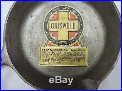 1930's #3 Unused Griswold Cliff Cornell Skillet with Original Paper Sticker