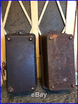 (2) ANTIQUE CAST IRON X LARGE EUROPEAN BREAD PANS RARE HTF/ L-22in