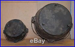 2 cast iron 3 footed dutch ovens No 10 huge # 16 antique collectible kettle pan