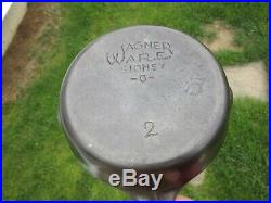 #2 rare ANTIQUE cast iron WAGNER WARE SKILLET pan SIDNEY -0- cookware TWO hearth