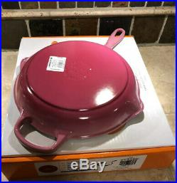 #26 Berry LE CREUSET 10.25 Cast Iron Signature Handle Skillet Ombre Pink NWT