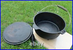 3.75 Litre / 4 Quart Seasoned Cast Iron Dutch Oven with spiral Bail Handle + lid