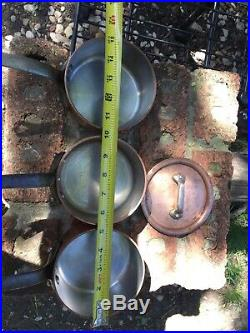 3 Mauviel Copper Sauce Pots Stainless Lined 1 Lid Cast Iron Handles