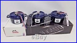 3 Set Staub Cast Iron Mini Cocottes. 25 Quart Dark Blue NEW
