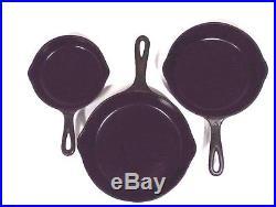 3 Vintage Wagner Ware Sidney Cast Iron Skillet Fry Pans #3 #5 #6