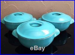 3 Vtg Le Creuset Cast Iron Enamel Turquoise Teal Aqua 12 Mini Cocotte Dutch Oven