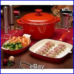 4-Piece Red Cast Iron Porcelain Enamel Cookware Set Casserole Griddle Gratin