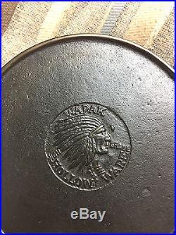 #4 wapak hollow ware indian logo skillet JW