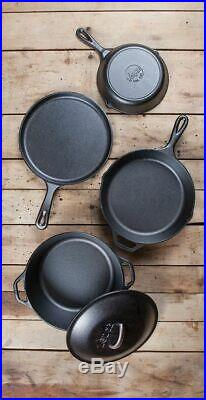 5 Piece Seasoned Cast Iron Cookware Set Skillet Griddle Dutch Oven Kitchen Cook