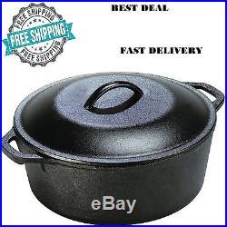 5 Qt Cast Iron Dutch Oven Pre-Seasoned Pot Lid Kitchen Cookware Utopia New Gift
