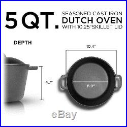 5 Qt Cast Iron Dutch Oven Pre-seasoned Pot Stove Top Camping Cookware BRAND NEW