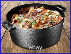 5-Quart Cast Iron Dutch Oven Pre-Seasoned Pot Skillet Lid Food Kitchen Cookware