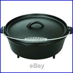 5 Quart Dutch Oven Lid Seasoned Cast Iron Pot Bake Fry Stew Oval Vintage Large