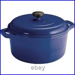 6.5 Qt DUTCH OVEN Enameled Cast Iron Round Kitchen Cookware Oven-safe Blue
