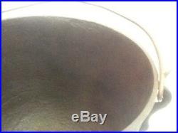 # 7 ANTIQUE 3 LEG CAST IRON BEAN POT COWBOY KETTLE CAULDRON w BAIL & GATE MARK