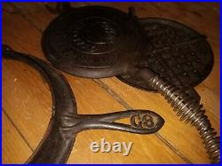 #8 crescent CAST IRON WAFFLE IRON w BASE RING & BALE HANDLE ORIGINAL HANDLES