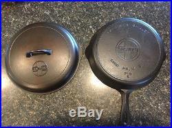 #9 Griswold Cast Iron Skillet & Button Logo Lid Clean & Seasoned
