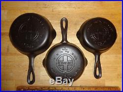 9 Vintage Griswold Skillets 2,3,4,5,6,7,8,9 & 10 Large Block Logo EPU Full Set