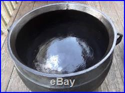 ANTIQUE RARE Signed BALTIMORE LARGE CAST IRON 15 GALLON GYPSY KETTLE CAULDRON