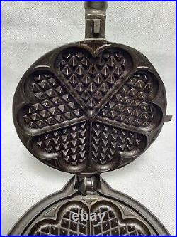 Alfred Andresen & Co Heart Shaped Cast Iron Waffle Maker With Griswold Base