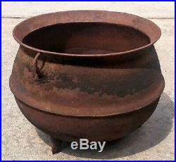 Antique Cast Iron 3 Legged Cauldron Campfire Gypsy Witch Pot Marked 12