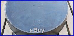 Antique Erie Pre Griswold 12 Cast Iron Skillet 719 Heat Ring HTF Rare Pan Vtg PA