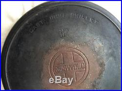 Antique Griswold #12 Large Block Logo Cast Iron Skillet Raised Ring #719 Erie PA
