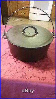 Antique Pre-Griswold ERIE #10 Dutch Oven w Lid Heat ring Bail handle Restored