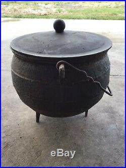 Antique Vintage Black Large Cast Iron Cauldron With Lid