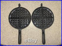 Antique Vintage Cast Iron Lodge #8 Waffle Iron Waffle Maker Free Shipping