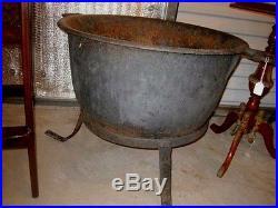 Antique Vintage Large Cast Iron Cauldron Garden Planter Pot Yard Decor Kettle