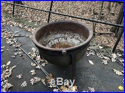 Antique Vintage Large Cast Iron Cauldron Pot Yard Kettle 80 gallon Stew kettle