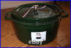 BNIB Staub Enameled Cast Iron Basil Green Round Dutch Oven Cocotte-13.25 Quart