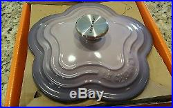 BRAND NEW Le Creuset Cast Iron Flower Dutch Oven Blue Bell Purple Very Rare