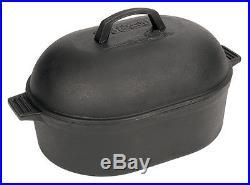 Bayou Classic 12 Quart Cast Iron Oval Roaster Dutch Oven W Domed Lid Seasoned Qt