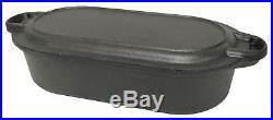 Bayou Classic Pre Seasoned Cast Iron 6 Qt Oval Roaster / Fryer Pot w Griddle Lid