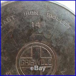 Beautiful #14 Griswold Large Block Cast Iron Pan LARGE LOGO