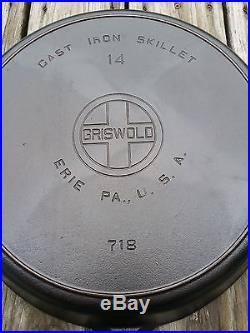 Beautiful Griswold #14 Cast Iron Skillet Large Block EPU Logo Fully Restored