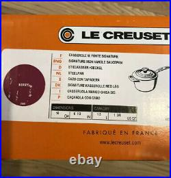 Berry Pink LE CREUSET 1.75 Quart Cast Iron Signature #16 Sauce Pan NWT Ombre
