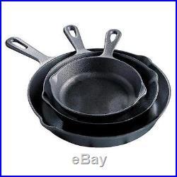 Black 3 Piece Cast Iron Fry Pan Set Skillets Cook Stove Top Oven Kitchen