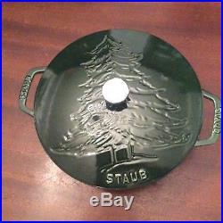 Brand New Staub Cast Iron Essential French/Dutch Oven 3.75 Qt. Pine Tree Design