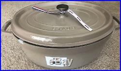 Brand New Staub Enamel Cast Iron 7 Qt Oval Cocotte Sesame/linen Color Nib