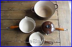 Brown Le Creuset Pot and Pan Set Cast Iron Enamelware