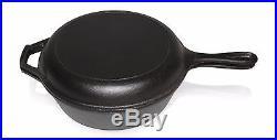 Bruntmor Cast Iron Dutch Oven Deep Fryer Skillet 3 Qrt 2 in 1 Combo Cooker New