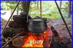 Bruntmor Pre-Seasoned Cast Iron Potjie African Pot 8-Quart Black