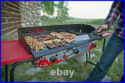 Camp Chef Deluxe Griddle Covers 2 Burners On 2 Burner Stove Cast Iron