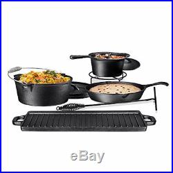 Camping Cookware Set Camp Cooking Gear 7 Piece Cast Iron Pre Seasoned Box New